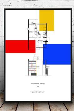 Architecture Collage, Interior Architecture, Schroder House, Mondrian Art, Architectural Floor Plans, Art N Craft, Art Moderne, Modernism, Autocad