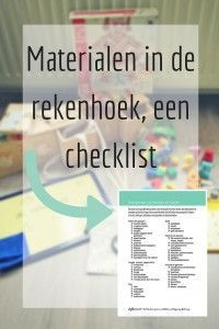 Materialen in de rekenhoek, een checklist - speciaal voor nieuwsbrief abonnees! - JufBianca.nl