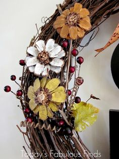 Today's Fabulous Finds: Fall Grapevine Wreath with Pine Cone Flowers {Take Two} with tutorial on how to do the pine cone flowers.