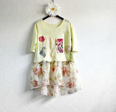 Women's Yellow Top Shabby Chic Tunic Eco by BrokenGhostClothing, $47.20