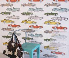 British Classic Car Hand Printed Wallpaper
