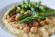 Polenta with Lemony Asparagus and Chickpeas. always ready for a new way to eat polenta Chickpea Recipes, Vegetarian Recipes, Healthy Recipes, Polenta Recipes, Healthy Foods, Cereal Recipes, Whole Food Recipes, Cooking Recipes, Fat Free Vegan