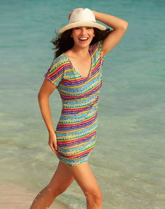 59a17852a762a NWT Anne Cole Signature Swim Mesh Multi Color Cover Up Size S M  AnneCole