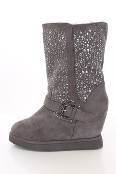 Charcoal Studded Detailing Buckle Accent Wedge Boots