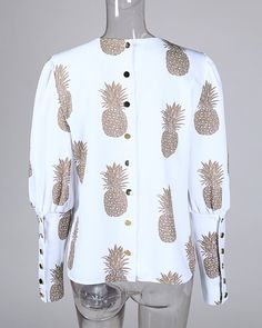 Abacaxi Impressão Metal Abotoado Blusa Casual Detalhe