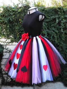 Queen of Hearts  Adult or Teen Costume Tutu  Custom by TiarasTutus, $165.00 Modbod shirt+long tulle strips around ribbon or elastic and cutout shapes= easy | http://crazyhalloweenideasdovie.blogspot.com