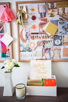 Moodboard at wedding PR office with flowers below