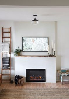 Vintage Fireplace, Home Fireplace, Fireplace Remodel, Living Room With Fireplace, Fireplace Design, Home Living Room, Living Spaces, Stucco Fireplace, Fireplace Ideas
