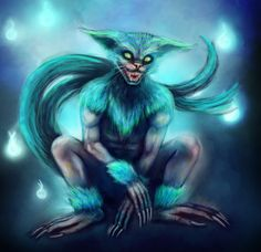 Nekomata (Japanese) (Upgrade = Amonajaku) - Strange shapeshifters that take the forms of cute little kittens to lure prey into a false sense of safety so they can be transported by their prey into towns unnoticed. Their true form is that of a huge cat/baboon/lizard like horror. They are also close related with Djinns, they can forfill desires, but at the cost of your soul.