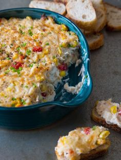 Hot Crab Dip - full of corn.. warm and cheesy mmm