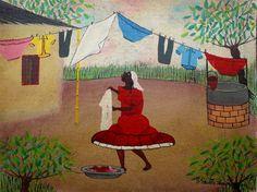 Washerwoman - Oil on Canvas - Heitor dos Prazeres.