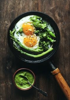 Stovetop Eggs with Broccoli, Asparagus, Lemon Zest, & Pesto