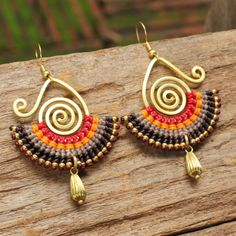 Brass and cotton dangle tribal earrings in red and dark brown