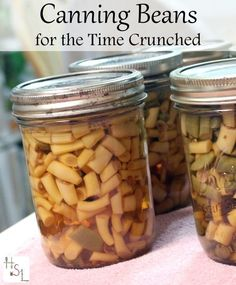 Break up the canning process into smaller steps so that canning beans for the time crunched can happen over several days and still turn out a tasty product.