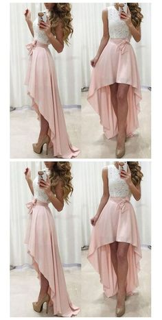 White and pink high low prom dress girls semi formal gown party dress Junior Prom Dresses, High Low Prom Dresses, Prom Dresses Long With Sleeves, Homecoming Dresses, Semi Formal Dresses For Teens, Formal Gowns, Elegant Dresses, Cute Dresses, Girls Dresses