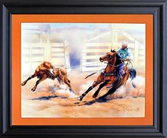 Framed Wall Decor Western Rodeo Cowboy Calf Roping Horse Old West Barnwood Picture Art Print