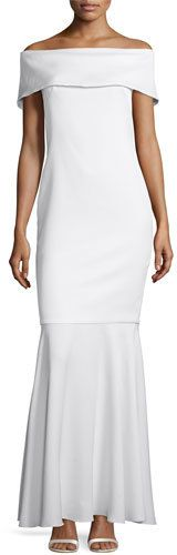 Camilla & Marc Off-the-Shoulder Crepe Mermaid Gown, Creme