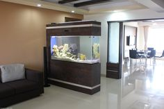 A Marine Aquarium used creatively as a 'see through' wall. The aquarium divides the living room partially and is viewed from 3 sides. Installed by TropiCo Aqua,Mumbai,India.