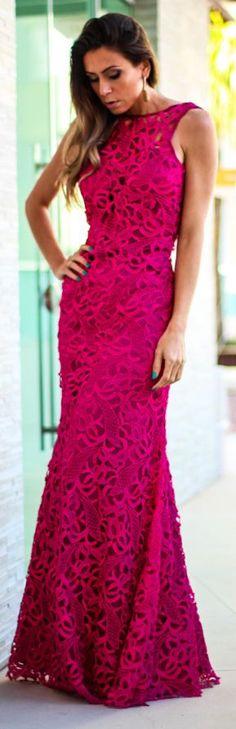 Fuchsia Lace Cocktail Maxi Dress by Decor e Salto Alto