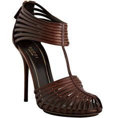 Gucci Brown Leather Strappy Sandals