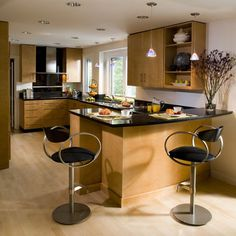 Suite 103 & 204: Natural Maple Cabinets With Black Countertop Design, Pictures, Remodel, Decor and Ideas