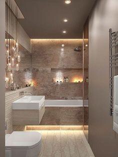 Bathroom Inspiration Modern Small Ideas Badezimmer Inspiration moderne kleine Ideen Image by Chocolateee Bathroom Design Luxury, Modern Bathroom Design, Bath Design, Modern Bathrooms, Modern Sink, Lighting For Bathrooms, Vanity Lighting, Toilet And Bathroom Design, Bathroom Lighting Design