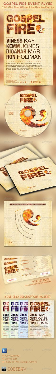 Gospel Fire Church Flyer, Ticket and CD Template  - Church Flyers