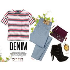 Stripes and denim, Top fashion set for June 25th, 2016 by gabyidc on Polyvore featuring Saint James, D&G, BCBGeneration, Chloé, Adriana Orsini, Ray-Ban, Tom Ford, Hermès and Nicole
