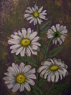 Daisies.  I painted this with Acrylic in canvas pad 21 cm x 30 cm.