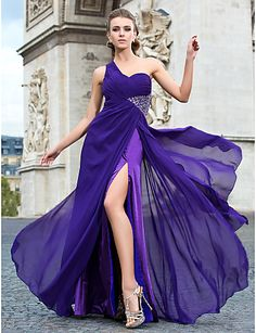 Sheath/Column One Shoulder Floor-length Chiffon Evening Dress - GBP £ 77.91