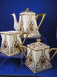Limoges Citrus Motif Art Deco Tea Set 1914