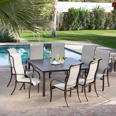 Del Rey Deluxe Padded Sling Square Aluminum Dining Set - Seats 8 $1399.99