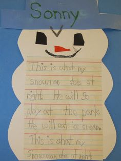 Melting snowman writing activity