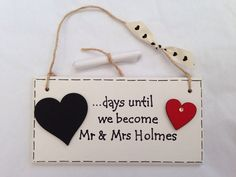 Great gift for my Brides to Be. Countdown to Wedding / Engagement Gift Plaque  by AmoreArtGifts, £10.00