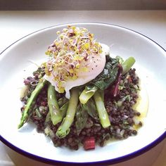 Beluga lentils, red onion, celery, basil, rainbow chard stalks, my best olive oil Asparagus Wilted rainbow chard leaves Poached egg China rose and radish sprouts