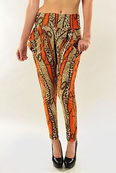 ORANGE CHAIN PRINTED HAREM PANTS WITH POCKETS, $20.00 by Appealing Boutique