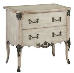 This solid walnut chest of drawers features oak drawer inserts and lavish solid brass handles and details. Its antiqued ivory finish gives it the look and feel of a true vintage piece; Furniture Styles, Cool Furniture, Painted Furniture, Refurbished Furniture, Furniture Ideas, Drawer Inserts, Vintage Chest, Brass Handles, Drawer Handles