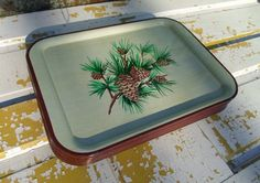 Vintage Set of Five Tin Serving Trays Pine by alsredesignvintage, $44.00