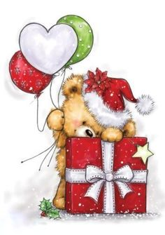 Wild Rose Studio Stamp Teddy behind Present - Noel Christmas Drawing, Christmas Art, All Things Christmas, Christmas Ornaments, Illustration Noel, Christmas Illustration, Illustrations, Christmas Clipart, Christmas Pictures