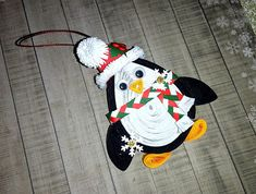 Quilling art Christmas ornament Christmas penguin 3D quilled