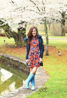 Floral dress & Hunter Boots