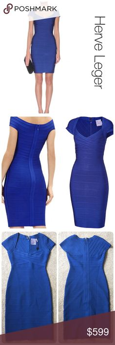"NWT Herve Leger cap sleeve bandage dress size M Snug, body conscious fit. A crisscrossed design at the bodice flatters the alluring neckline of the dress constructed from densely knit panels that conform to the body. 34 1/2"" length (size Medium). Back zip closure. 90% rayon, 9% nylon, 1% spandex. Dry clean. Imported. Collectors. Herve Leger Dresses Mini"