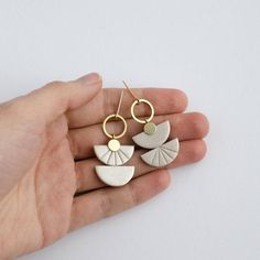 Mismatched Earrings Color Block Dangles Pearl Brown and Black Earrings Semicircle Jewelry Geo Gift for Her Friend Basic Jewelry Earrings