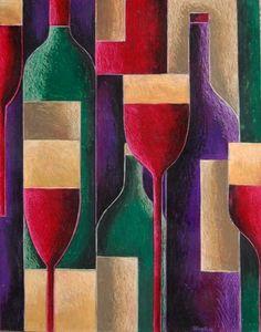 by Tiffany Budd Red wine? by Tiffany Budd Red wine? by Tiffany Budd Cubist Paintings, Cubist Art, Abstract Art, Original Paintings, Wine Painting, Wine Art, Kitchen Art, White Wine, Red Wine