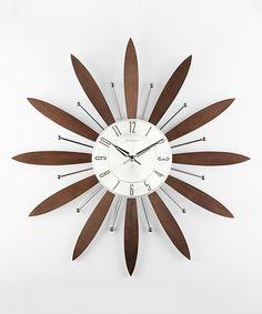 Espresso Floral Wall Clock