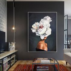 Woman portrait abstract flower modern wall art oil portrait painting on canvas framed wall art home decor wall art for dining room - Woman Portrait and Flower Original Oil Painting Modern Wall Art Frames On Wall, Framed Wall Art, Living Room Designs, Living Room Decor, Dining Room, Female Portrait, Woman Portrait, Oil Portrait, Canvas Home