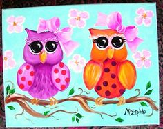Nursery art Owls canvas original painting children by AdoraArt, $45.00