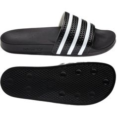Adidas adilette Slides (98 BRL) ❤ liked on Polyvore featuring men's fashion, men's shoes, men's sandals, shoes, sandals, flats, filler, mens flat shoes and adidas mens shoes