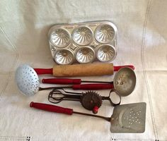 Vintage Children Toys,  Pretend Play, Toy Kitchen Utensils, Lot of 6, Red Wood Handles, Rolling Pin, Muffin Tin, Circa 1950s