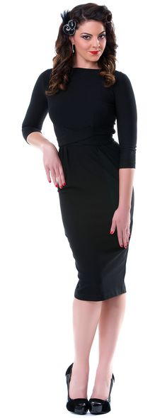 Vickie Black Pencil Wiggle Dress - Unique Vintage - Pinup, Holiday & Prom Dresses.